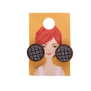 Black With White Stripe Earring