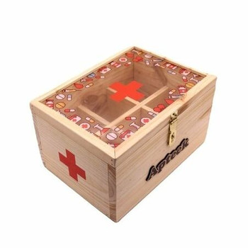 Wooden First Aid Box Printed - Noodhulp