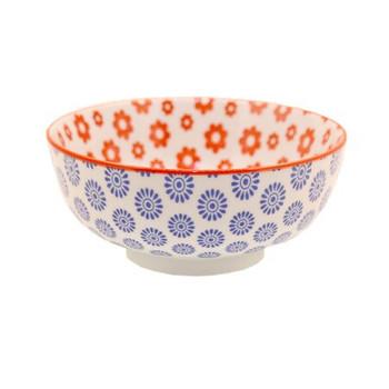 Ceramic Bowl - 12x6cm - Red & Blue Flower Pattern