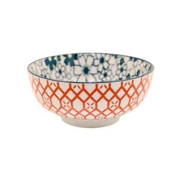 Ceramic Bowl - 14x6cm - Green Flowers & Red Pattern