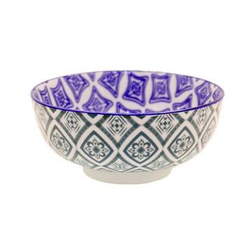 Ceramic Bowl - 14x6cm - Dark Green & Blue Pattern