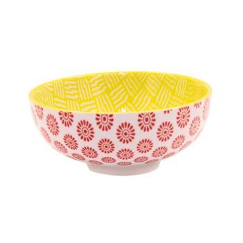 Ceramic Bowl - 14x6cm - Red & Yellow Patterns