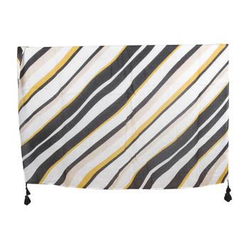Black White Gold Stripes Scarf Tassels