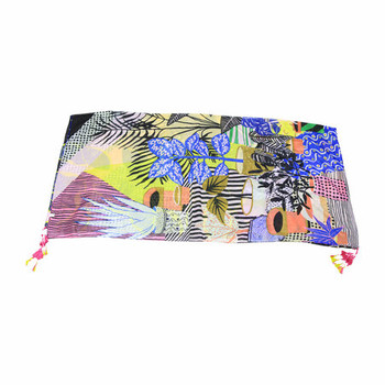Scarf - Colorful Tropical Leafs with Tassels