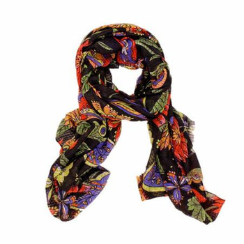 Scarf - Colorful Flowers on Black