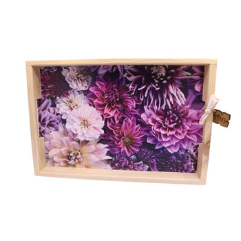 Printed Wooden Serving Tray - Purple & Pink Dahlias