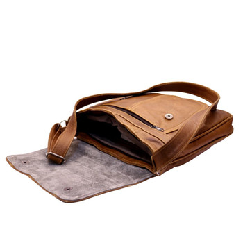 Leather Striped Stitch Large Brown Handbag