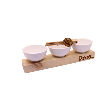 Wooden Board with 3 x White Bowls - Proe