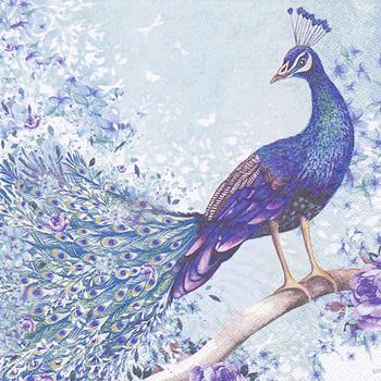 Serviette - Peacock Sitting On Branch (33x33cm)