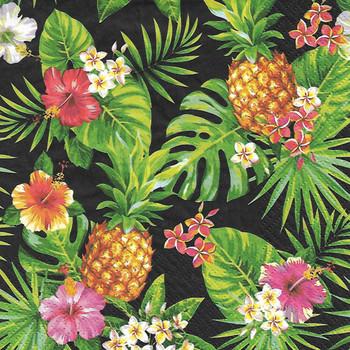 Serviette - Pineapples & Palmleaves Black