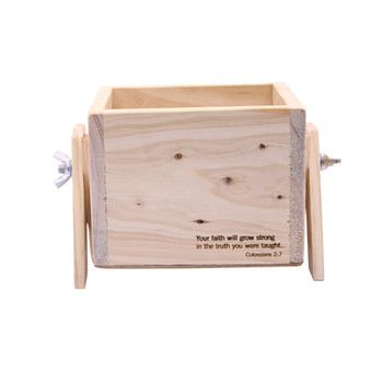 Large Wooden Plant Stand Engraved - Your Faith will Grow Strong