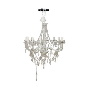 12 Arm White Chandelier with Crystals
