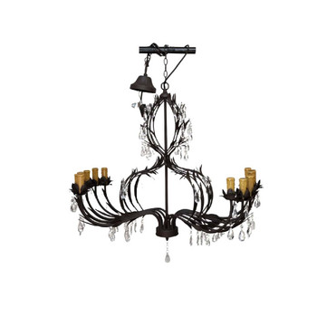 10 Arm Bronze and Crystal Chandelier