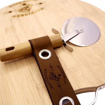 Engraved Pizza Board With Leather Detail - Happiness