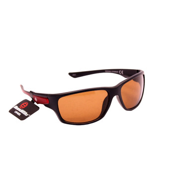 Sport Wrap Sunglasses / Plastic Frame Black Brown / Orange Lenses