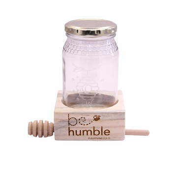 Honey Jar With Wooden Display
