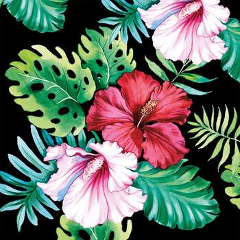 Serviette - Hisbiscus Floral Black