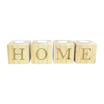 Wooden Candle-holder: H-O-M-E (4 piece)