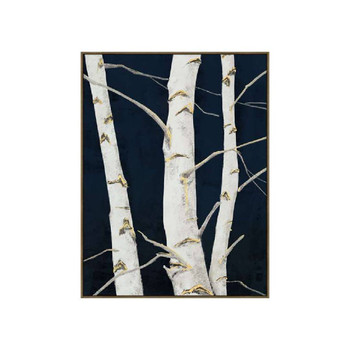 Birch In Silver (100x140x4cm) Wall Art