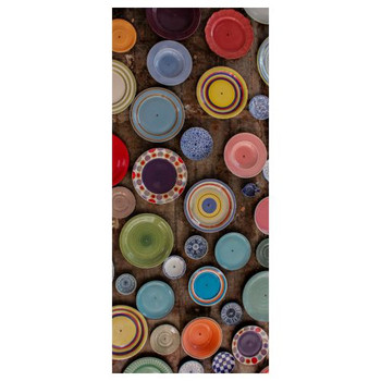 Large PVC Table Cover - Multi Colored Plates