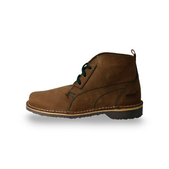 Side view - Terrae Mid Africa /Pecan Brown-Posy Green Leather Vellies