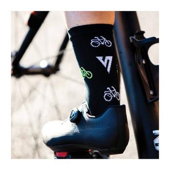 Qhubeka Black & Lime Bikes -  Cycling Socks - Size: 4-7