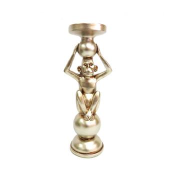 Candleholder - Gordo in Brushed Silver - 32cm