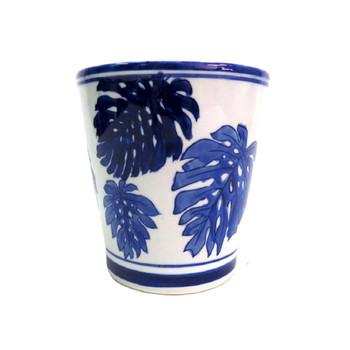 Planter - Blue Shoot & Leaves - 17x16.5cm
