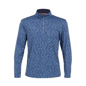 Men's Swift Space Dye Half Zip Pullover in Navy. Material: 92% Polyester, 8% Spandex