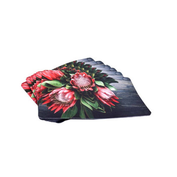Fynbos Protea on Wood Set of 6 PVC and Felt Placemats
