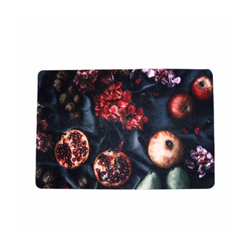 Vintage Fruit Single Photo of PVC and Felt Placemat. Pomegranate, Pears, Nuts, Apples and Flowers on a Dark Grey Background.