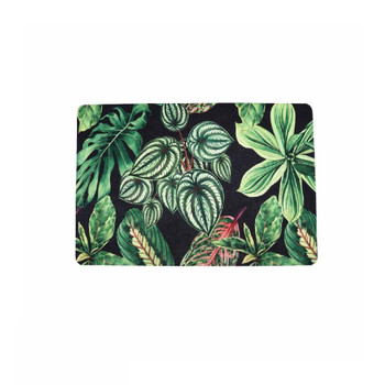 Garden Leaves Single Photo of PVC and Felt Placemat. Assorted garden plant leaves with Dark Green, Light Green, Pink and White colors on Black background