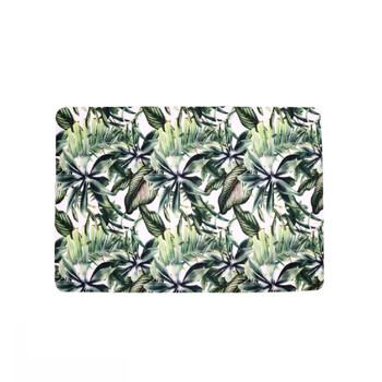 Tropical Leaves Single Photo of PVC and Felt Placemat. Leaves design with Banana Leaves, Palm Leaves in Dark Green, Light Green on White background