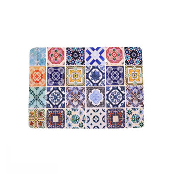 Moroccan Mosaic Single Photo of PVC and Felt Placemat. Tile design with colors: Light Blue, Dark Blue, Pink, Red, Dark Yellow, Teal Green, Green