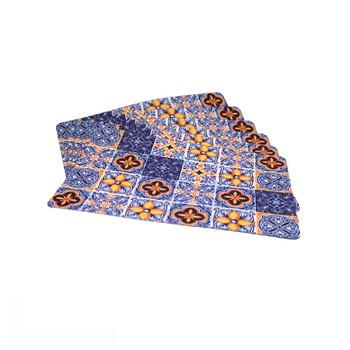 Blue Mosaic Set of 6 PVC and Felt Placemats