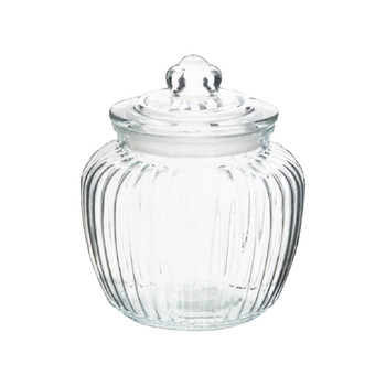 Glass Cookie Jar With Lid  (17cm /1400ml)
