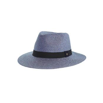 Braided Fedora Hat in Petrol Blue - 58cm