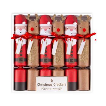 6 x Santa & Rudolph Crackers