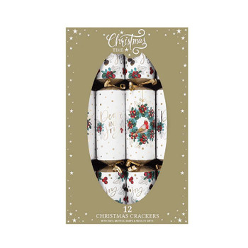 12 x Robin and Berry Wreath Christmas Crackers