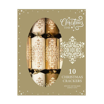 10 x Family Gold Damask design Crackers