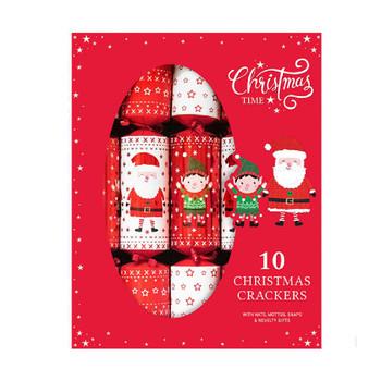 10 x Family Santa And Elf Crackers
