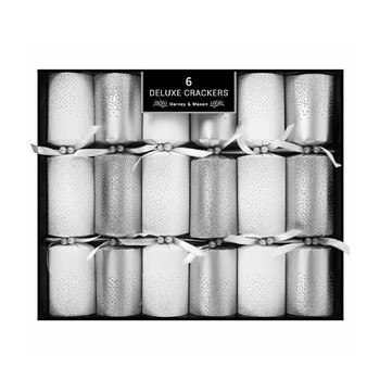Deluxe Silver & White Crackers (Pack of 6)