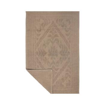 Sand Color Victorian design bathmat - 100% cotton machine washable