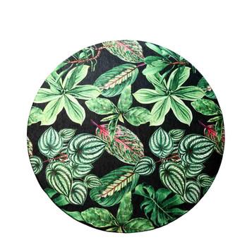 Chenille Round Rug 120cm - Garden Leaves