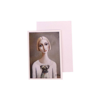 Blank Greeting Card with White envelope included. Sandra Pelser design - Blond short-haired woman holding little pug dog with off-white shirt on a dark grey background.