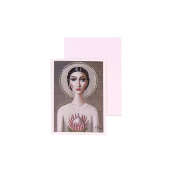 Blank Greeting Card with White envelope included. Sandra Pelser design - Tied back black haired woman holding pink King Protea with off white vintage dress on brownish grey background.