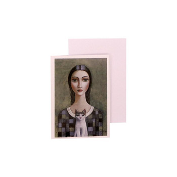 Blank Greeting Card with White envelope included. Sandra Pelser design - Braided Brown haired woman holding a white and black cat with a Check-colored Shirt on greyish green background.