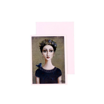 Blank Greeting Card with White envelope included. Sandra Pelser design - Braided Black haired woman with flowers in her hair with blue bird on her right shoulder in black dress on brownish green background.