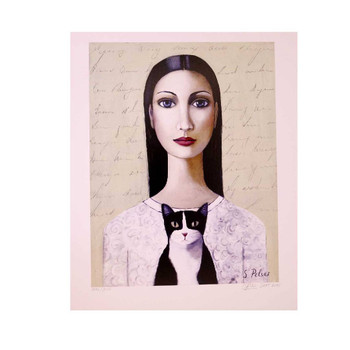 Sandra Pelser Print on cardstock. Dark haired lady with white shirt holding a black and white cat with off-white background with writing. Unframed with white border.