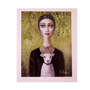 Sandra Pelser Print on cardstock. Dark haired lady with black vintage dress with white lamb on a  dark yellow background with green and purple vine. Unframed with white border.